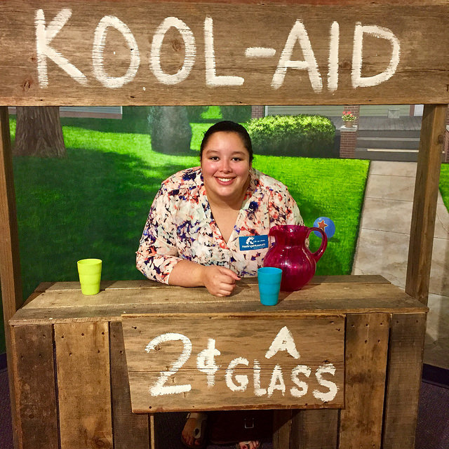 Our daughter, Meghan, took her turn at the Kool-Aid stand photo booth at the Hastings Museum.