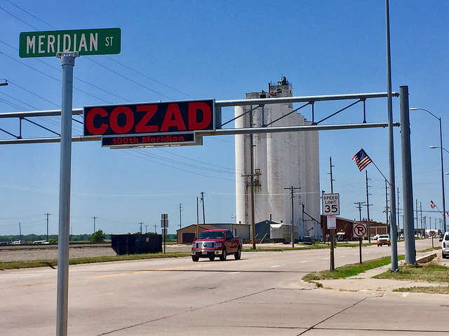 The 100th Meridian is nicely marked in Cozad, Nebraska, which even has a street named Meridian.