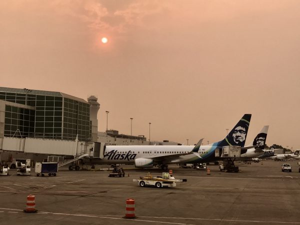 Alaska Airlines flight into Portland, Oregon.