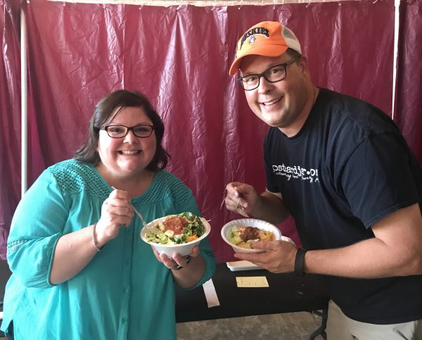 Ann and Steve in the judging room at the 2017 National Indian Taco Championships.