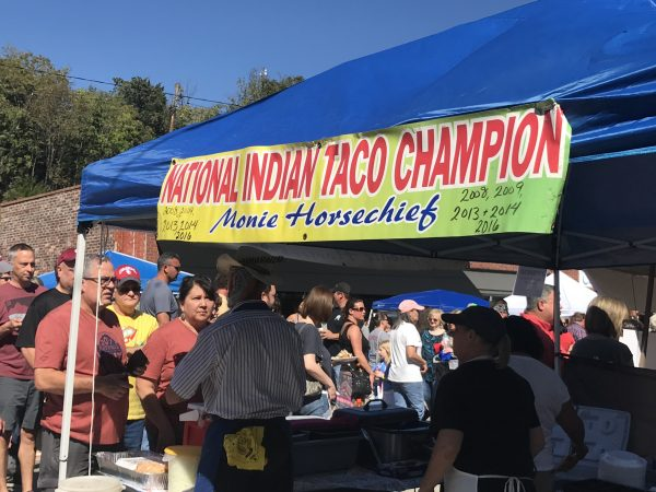 A booth at the National Indian Taco Championship in Pawhuska, Oklahoma.