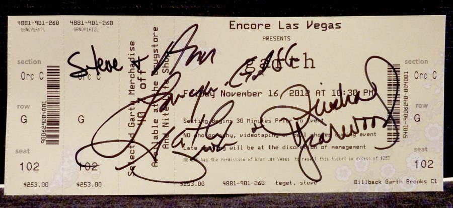 Our autographed Garth Brooks and Trisha Yearwood concert ticket.