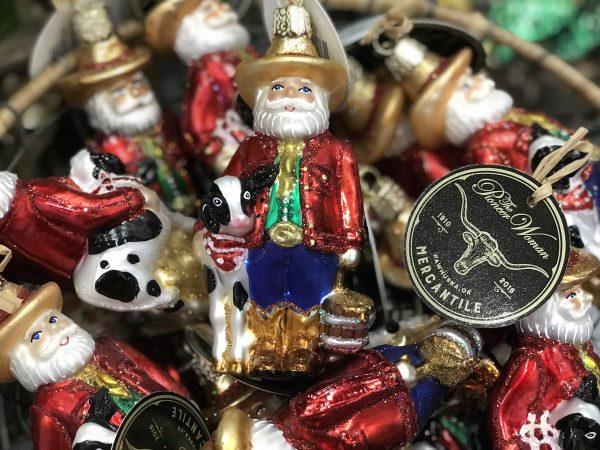 Cowboy Santa ornaments, Pioneer Woman Mercantile, Pawhuska, Oklahoma