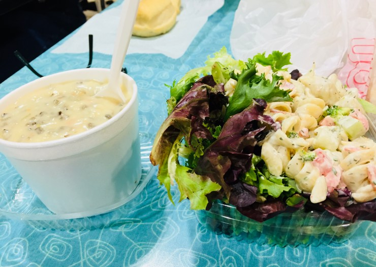 Salad Brothers wild rice soup, mixed greens, and ranch pasta salad, Rochester, Minnesota