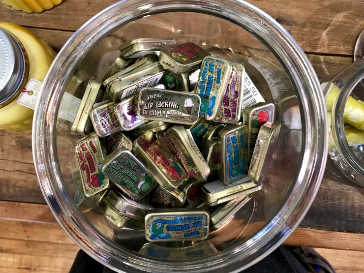 Vintage lip balm at The Pioneer Woman Mercantile in Pawhuska, Oklahoma.