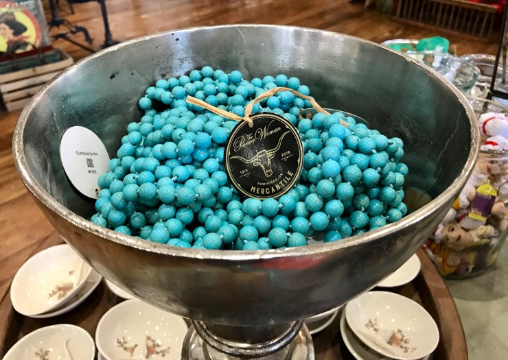 Turquoise colored beads at The Pioneer Woman Mercantile in Pawhuska, Oklahoma.