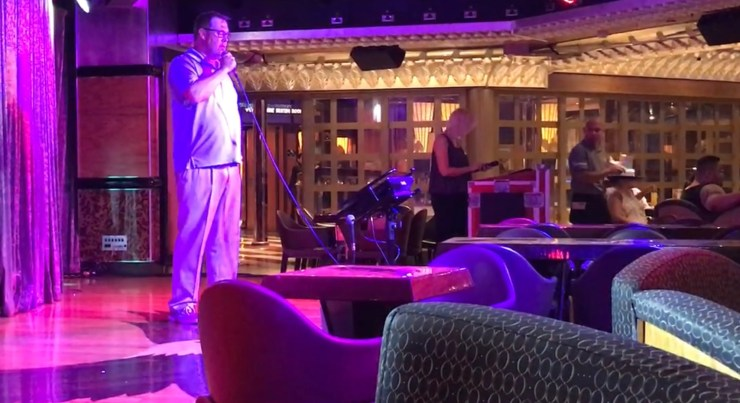 """Steve sang Garth Brooks' """"Friends in Low Places"""" during Karoake one night on the Carnival Valor."""