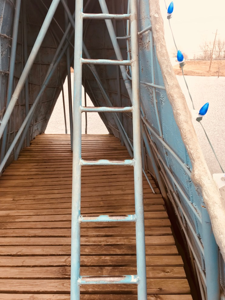 It was fun to think about the thousands of kids who climbed these steps to the top of the slide on The Blue Whale of Catoosa on Route 66.