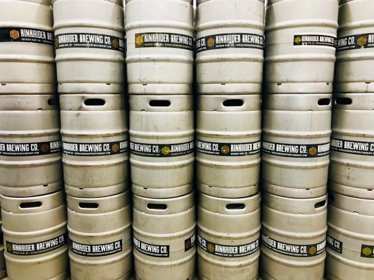 Kegs of Kinkaider beer.