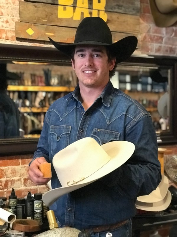 Osage Outfitters owner, Joey Lee, will be happy to shape a hat just the way you like it while you wait.