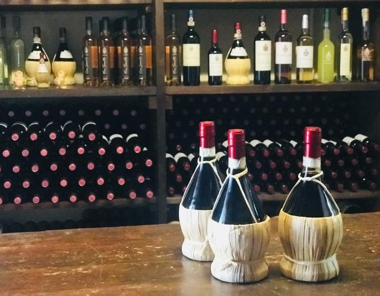 Chianti wine bottles