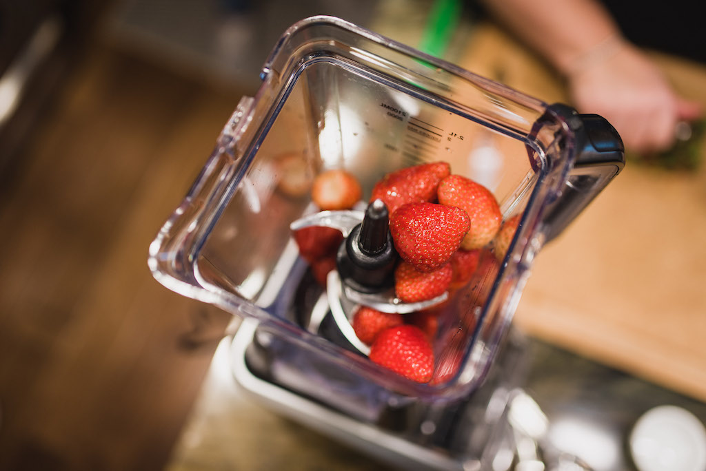 We blended fresh strawberries just until they were all broken up and added them to the cheesy risotto.