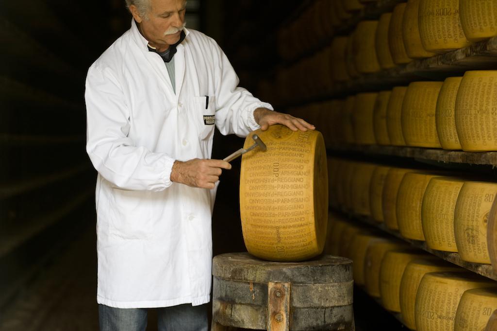 Inspection of Parmigiano-Reggiano cheese
