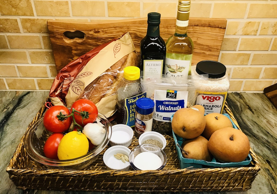 Some of the dry ingredients we purchased for our Italian cooking class.