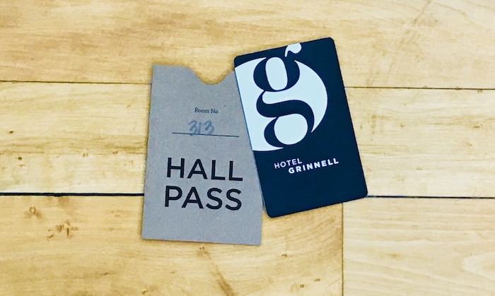 "Hotel guests are given their room keys in a ""hall pass"" sleeve as a nod to the building's history as a school."