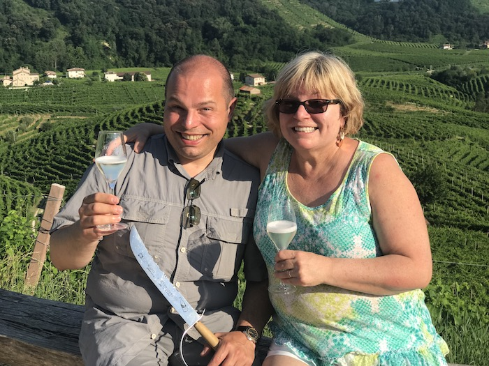 Massi the Driver and his wife, Deb, took us to Cartizze Hill where they grow the very best grapes for producing Prosecco.