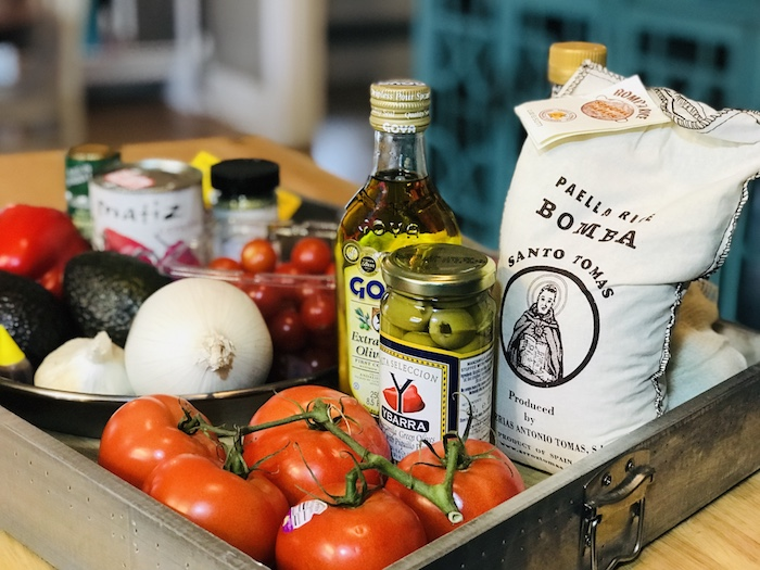 Our ingredient list included red peppers, fresh tomatoes and onion, Spanish olive oil, and Bamba rice.