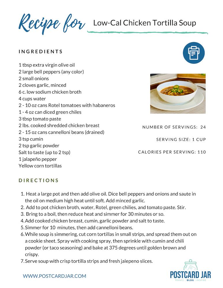 low calorie chicken tortilla soup recipe
