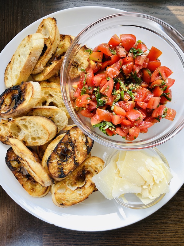 Grilled baguettes for bruschetta