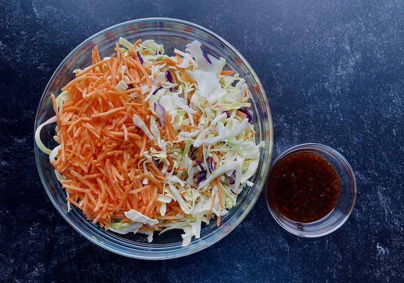 Low calorie egg roll in a bowl veggies
