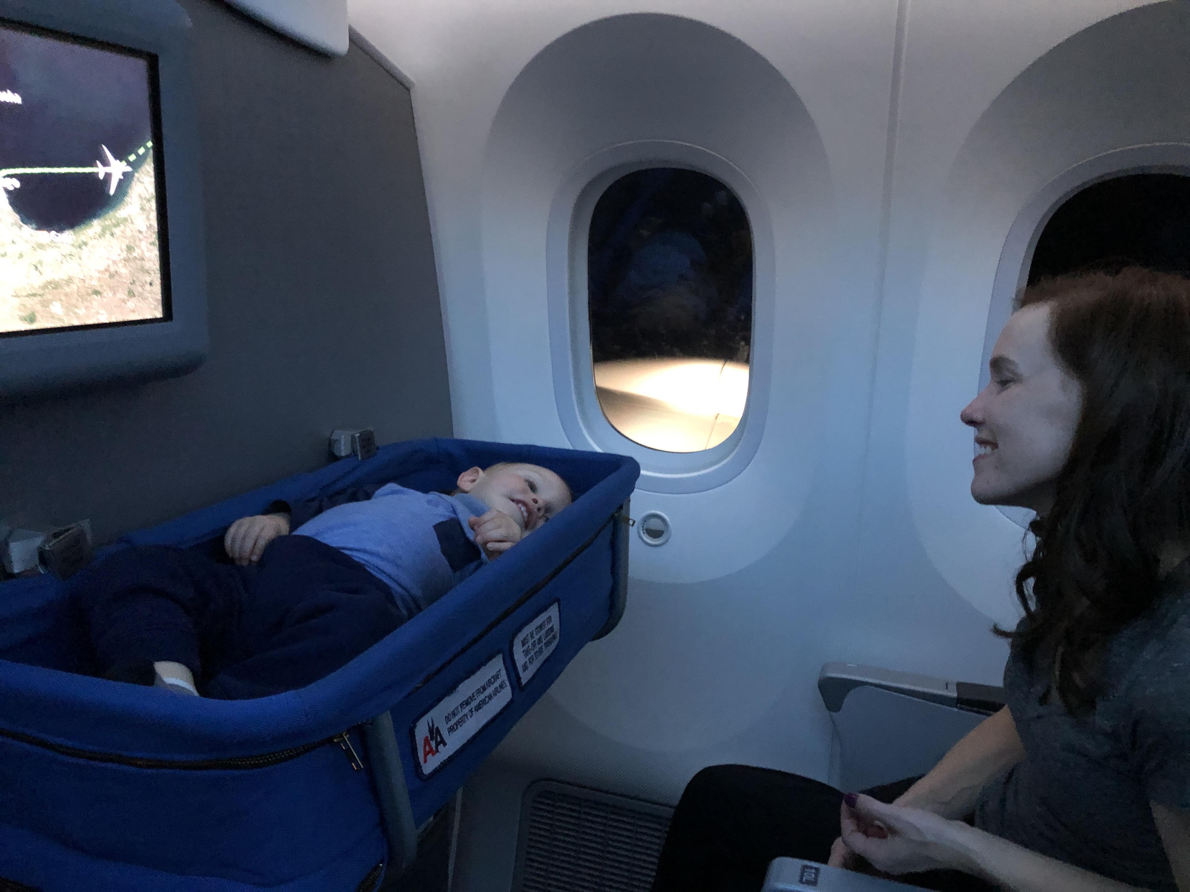travel hack - bulk head bassinet - air travel with families