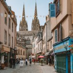 Walking up to the cathedral in Quimper, Brittany