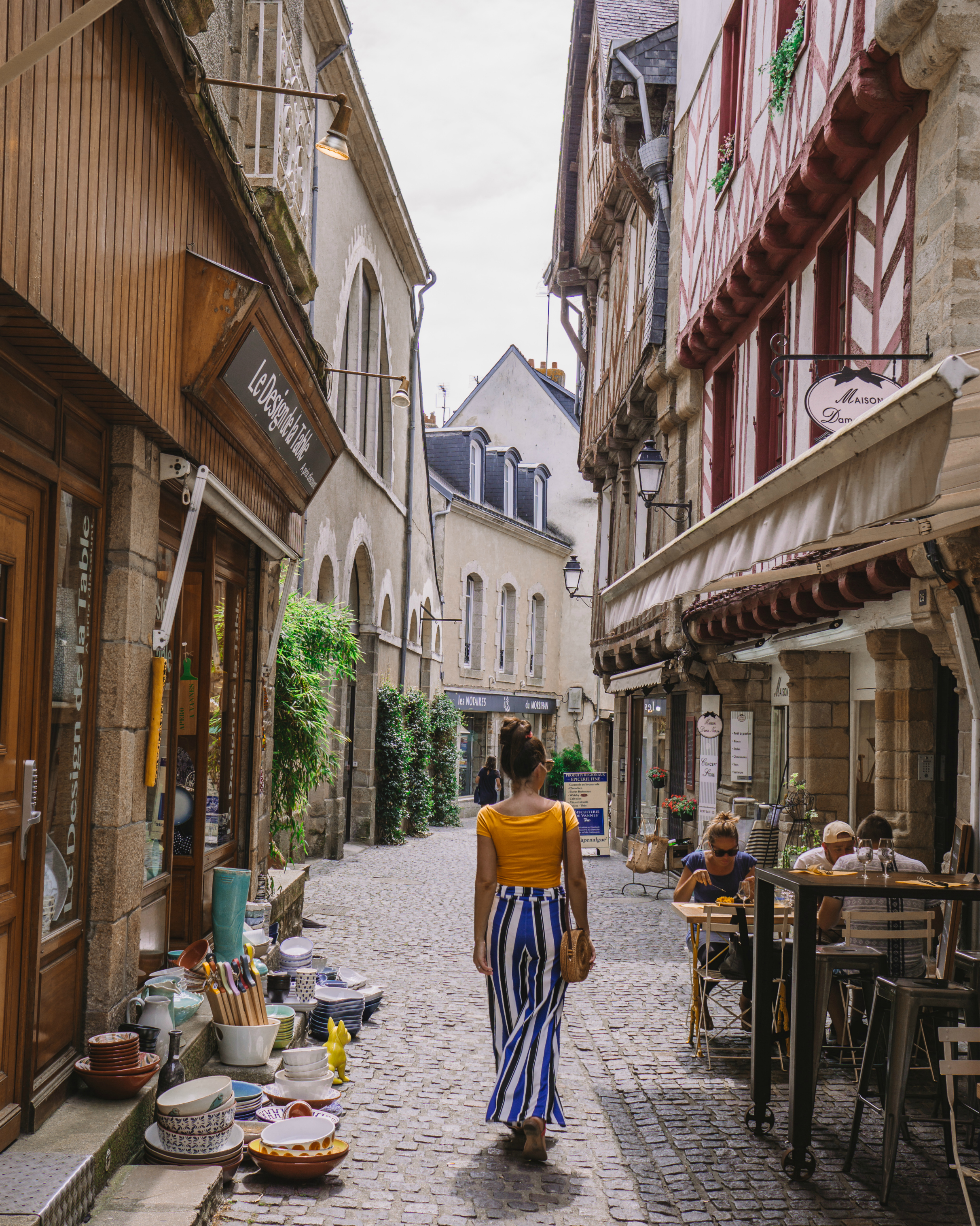 Walking through the ancient streets of Vannes, Brittany, France