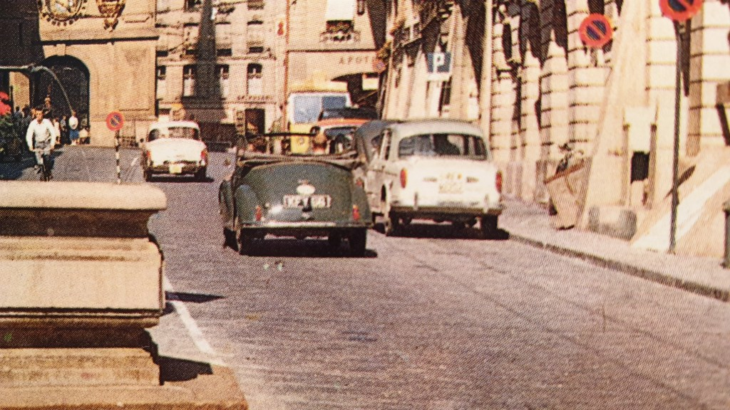 Close up of Morris Minor Convertible in Bern 1960s