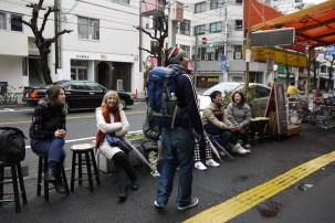 Waiting in line for okonomiyaki