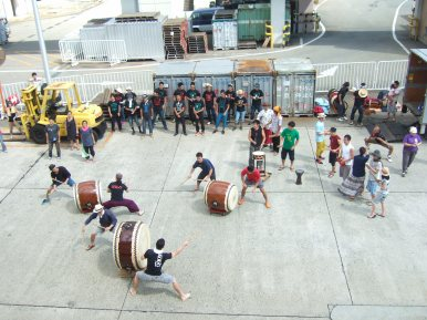 The taiko group came to see us off at the ferry port!