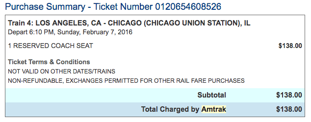 Los Angeles Union Station to Chicago Union Station Amtrak Train Ticket West Coast to East Coast USA by Train