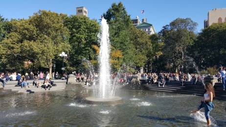 The fountain in Washington Square Park