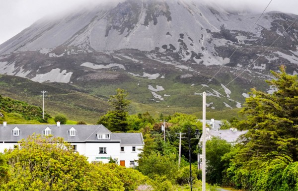 Mountains are the backdrop for the small town of Gortahork, County Donegal.