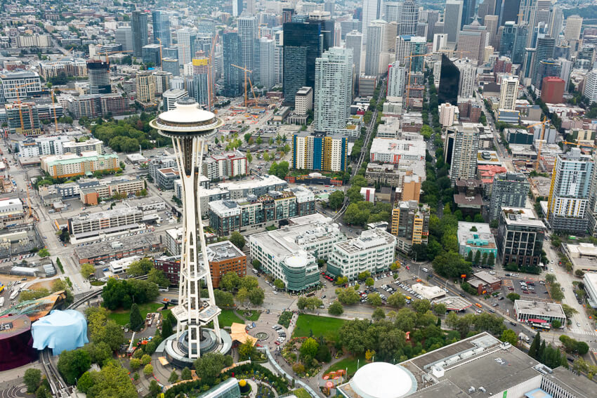viewing seattle by seaplane space needle