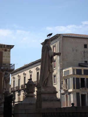 Statue of St Francis of Assissi, outside the church that bears his name.