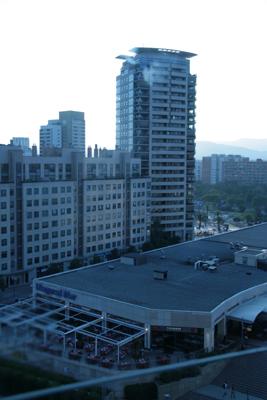 Modern condominiums and shopping centre.