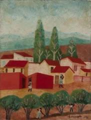 Casa e Árvores 1971, óleo sobre eucatex, 60x46cm, Galeria Estação