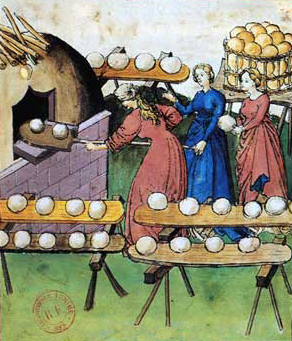 Women making round white breads. Illustration: Tacuinum Sanitatis
