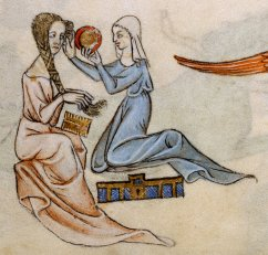 Lady being tended to by her maid, c. 1325-1335.