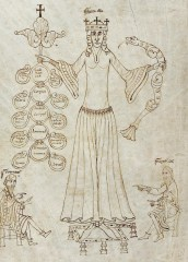 Gown with flared sleeves from the albow a narrow body and a pleated on full skirt, c 1140