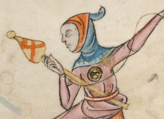 Woman in a blue capuchon hood (with short liripipe) lined with red fabric. c. 1325-1340