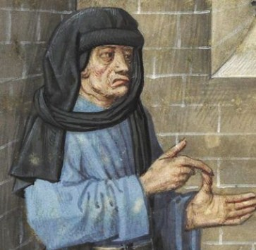 Chaperon worn in 1400's style, c. 1490
