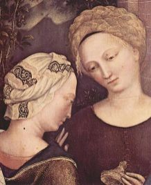 Italian ladies. One wearing a headwrap and the other seem to have pinned braided hair, 1423