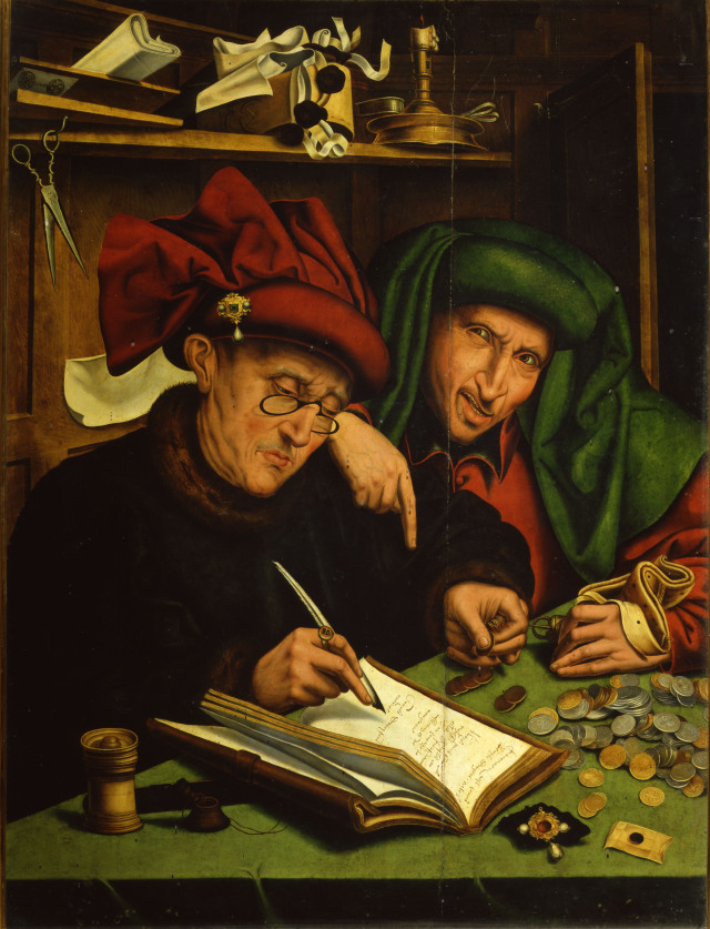 Two merchents working wearing chaperons, 1540