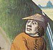 Man fencing wearing a or bycoket (robin hood hat), 1400's