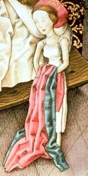 Fancy lady in her shift c. 1450