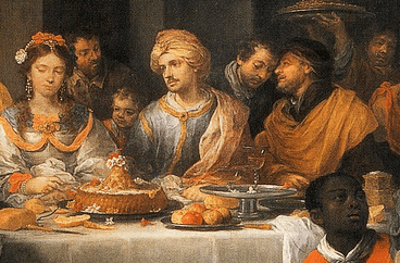 """Detail from the painting """"The Marriage Feast At Cana"""" by Bartolome Esteban Murillo, 1675"""