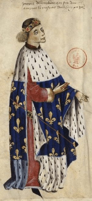 Dark blue brokade edged with fur Peter I Duke of Bourbon 1300's