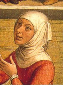 Woman in a tight head cover, 1490