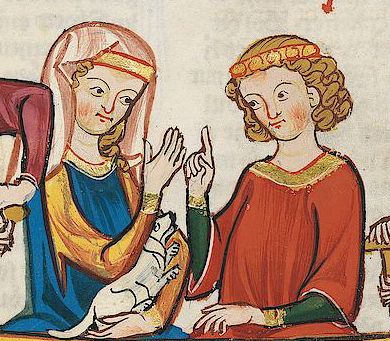 Simple veil worn over a fillet, c. 1305-1315